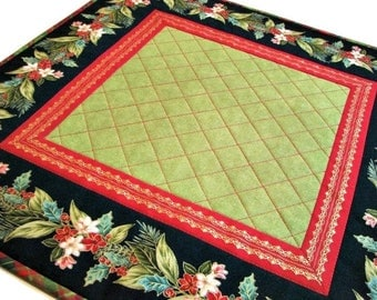 Christmas Quilted Table Topper, Square Christmas Table Mat, Christmas Garland Candle Mat, Green Red Gold Black Topper, Quiltsy Handmade