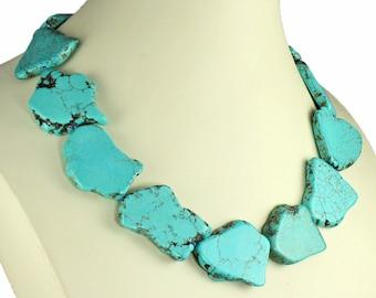Stunning jewellery genuine semi precious turquoise chunky large flat abstract shape stone 48 cm choker necklace