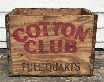 cotton club crate ~ rustic wooden pop crate ~ wood soda crate ~ rustic wooden box ~ wood box ~ storage container ~ wood crate ~ wooden crate