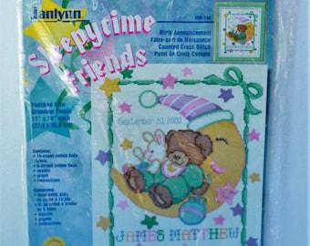 "Janlynn Sleepytime Friends Birth Annoucement kit #08-146 counted cross stitch 11"" x 14"""