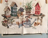 RESERVED for PATRICIA Handmade Cross Stitch Garden Decor Cat Tulips Birdhouses Embroidery Ready to Frame