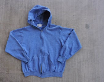 BEAT To HELL Rare Vintage Light Heather Blue Zip Up 50/50 Hoodie Sweatshirt S