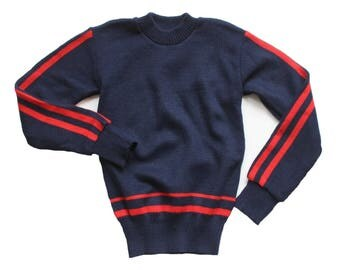 FRENCH VINTAGE 70's / for kids / jumper / navy blue and red / new old stock / size 8 Years