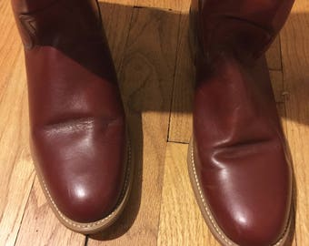 US Burgundy Frye American Classic Leather Riding Boho Equestrian Hipster Boots 10 AA