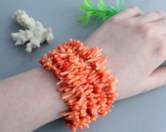 Natural coral bracelet , Sterling silver 925 , coral silver, coral jewelry, coral jewellery, beaded bracelet