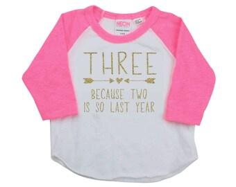 Third Birthday Girl Shirt, 3rd Birthday Girl Outfit, Birthday Girl Shirt, Three Year Old Girl Birthday Outfit, 3rd Birthday Outfit Girl 286