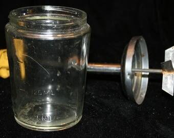 Acme Food Nut Chopper Vtg 1960's 1970's Glass Base Kitchen Gadget Almond Yellow 12 oz Vintage