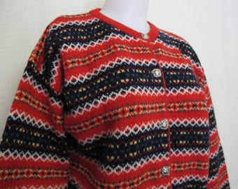 Pringle Wool Cardigan Sweater Scottish Wool Shetland Wool Scotland Small