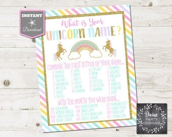INSTANT DOWNLOAD Printable 8x10 What's Your Unicorn Name Birthday Party Sign / Unicorns & Rainbows Collection / Item #3511