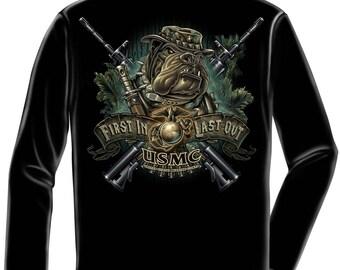 Marine Corps, USMC Long Sleeve Devil Dog First In Marine Black SKU: MM108LS