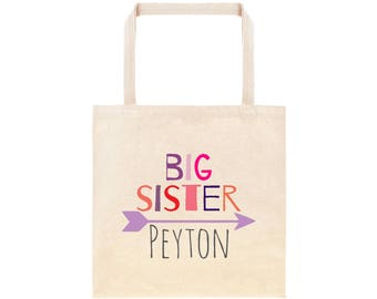 Big Sister Personalized Arrows Tote Bag // Custom Canvas Big Sister Gift Bag // Boho Arrows Big Sis Tote Bag