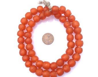 52 African Ghana orange Krobo Round Recycled Glass trade beads