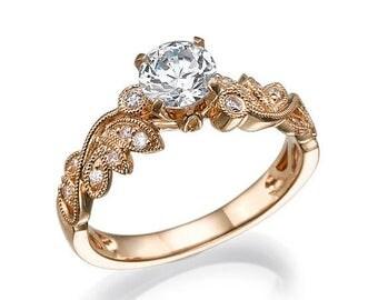 Rose Gold Engagement Ring, Unique engagement ring, Leaf Ring, 14k Ring, Diamond Ring, Promise Ring, Art Deco Ring, Wedding ring set
