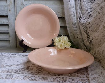 Set of 2 antique french blush pink serving dish. Salmon pink shallow serving bowl. Oinment pink. Shabby pink. Minimalist. Art deco pink.