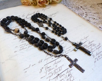 Set of 2 antique French ebonized wood rosaries. Black mourning rosary. Nun rosary. Antique black wood bead rosaries. Black rosary.