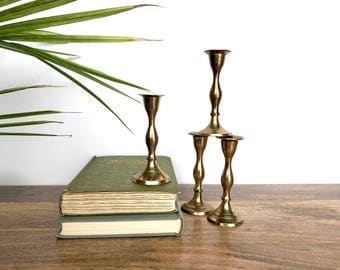 Vintage Candlestick Holders - Set of 4 Small Brass Candle Holders - Home Decor