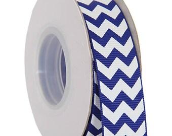 "Grosgrain Chevron Ribbon 7/8"" - 10 Yards - Blue"