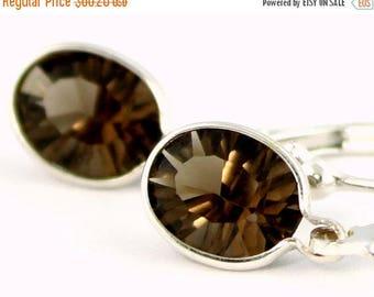 On Sale, 30% Off, Smoky Quartz, 925 Sterling Silver Leverback Earrings, SE001