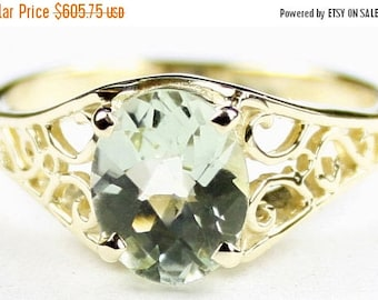 On Sale, 30% Off, Green Amethyst, 18KY Gold Ring, R005
