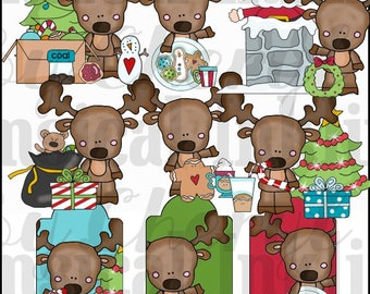 DIGITAL SCRAPBOOKING CLIPART - Christmas Morning Moose