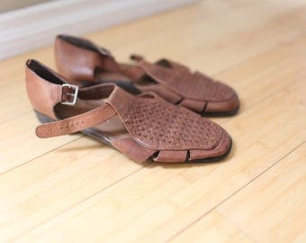 vintage brown strappy hurache leather strap sandals womens 10