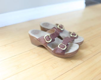 vintage dansko brown leather sandal wedge mules clogs 8 1/2