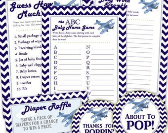 Airplane Party Pack - Three Printable Party Games, About to POP tag, and Diaper Raffle