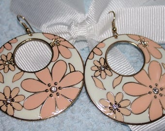 Pink Daisy Pendant Earrings - One of Kind