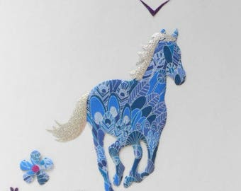 Applied fusible liberty blue wild horse