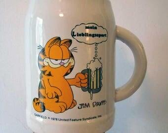 Garfield The Cat beer stein, 1979 Jim Davis Garfield the cat beer mug, vintage beer mug, German beer mug, Garfield the Cat