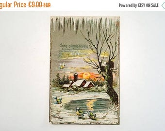 SUMMER SALE -30%off Antique birthday postcard from 1911 -  made in Estonia - greeting card - landscape of the setting sun and birds
