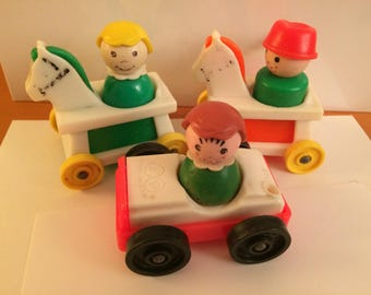 Vintage Fisher Price Little People Girls Boy With Car and Horse on Wheels