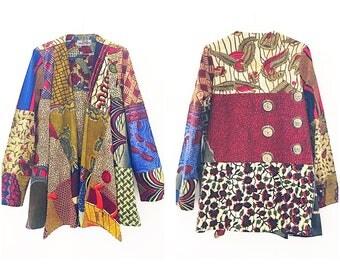 Kira Jacket African print casual blazer green brown mix print womens jacket Ankara blazer in mixed African prints by Sosome