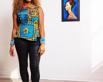Cassy Peplum Blue layerd top Ankara African Clothing African Print Top African Fashion Women's Clothing African Fabric Ankara Fashion