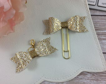 Crushed Gold Planner Clip or Charm // Planner Accessories // Planner Accessory // Bookmark //