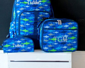 Boys Monogrammed Backpack-- Book bag Monogrammed -- Lunch Box -- Sharks --Pencil Bag Personalized bag-- Monogrammed Bookbag and Lunch Box--
