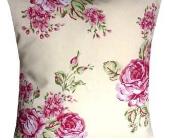 Designer Rose vintage cream pink floral flower luxury chic cushion cover