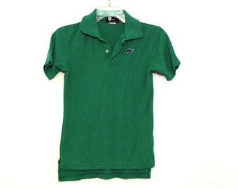Vintage 80s Izod Lacoste polo shirt green kids 16 adult xxs