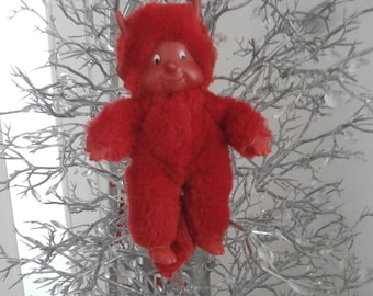 Vintage Red Youth DEVIL Friend Monchichi, Glad Prince of Redness, Small Neat Satan