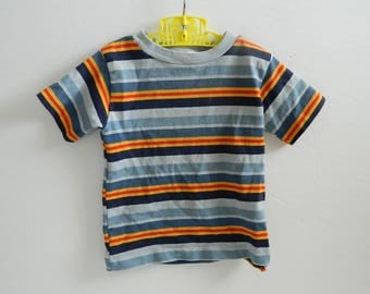 Retro 1970s Health Tex Child's Stripped T Shirt Size 3 Made in USA