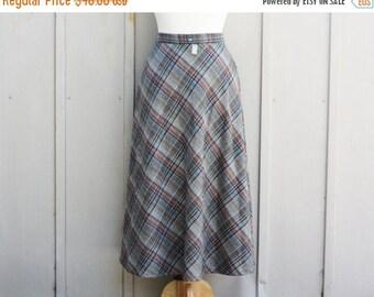 60s Circle Skirt - Grey Plaid Skirt - 1960s Tartan Skirt - High Waist Swing Skirt - Vintage Mod Skirt - Rockabilly Skirt - Retro Wool Skirt