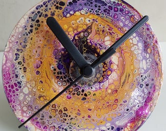 Clock, acrylic art painted on upcycled CD/DVD, with mechanism