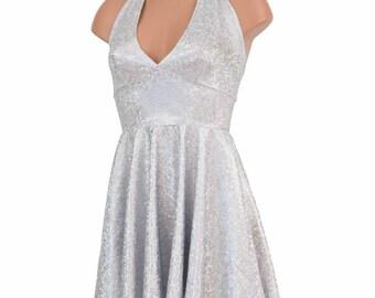"""Silver on White Shattered Glass """"Marilyn Monroe"""" Halter Tie Back Skater Dress Hollywood Glam Movie Star - 154815"""