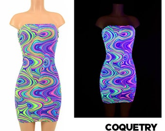 UV Glow Worm Black Light Reactive Strapless Tube Dress Clubwear, Bodycon Nylon Spandex - 154841