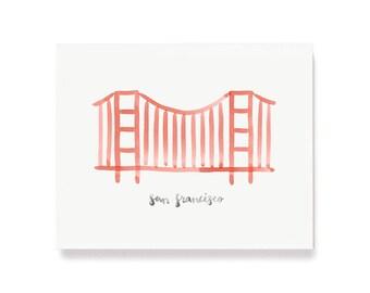 Minimalist San Francisco Golden Gate Bridge Wall Art Print Home Decor 11x14 8x10