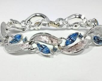 VINTAGE LISNER BRACELET,  Mid Century Rhinestone and Silver Bracelet, Lisner Jewelry, Lisner Marquise Cut Blue Rhinestone Bracelet, Bridal