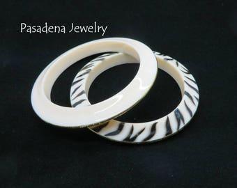 Lucite Bangles, Vintage Pasadena Jewelry Zebra Stripe, Cream Bracelets, Gold Edged Bangles, Gift for Her, FREE SHIPPING