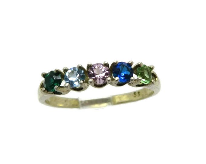Sterling Silver Topaz Ring - Vintage Five Stone  Multicolor Ring, Anniversary Ring, Birthday Gift for Her, Size 8