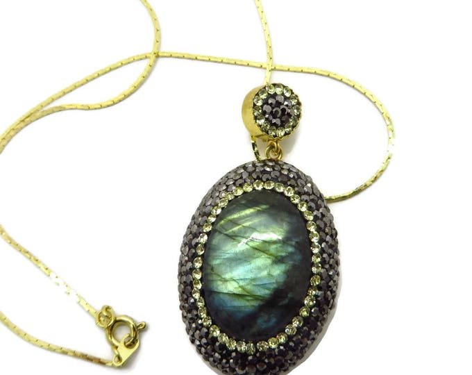 Vintage Labradorite Pendant, Gold Plated Sterling Silver Labradorite and CZ Pendant Necklace