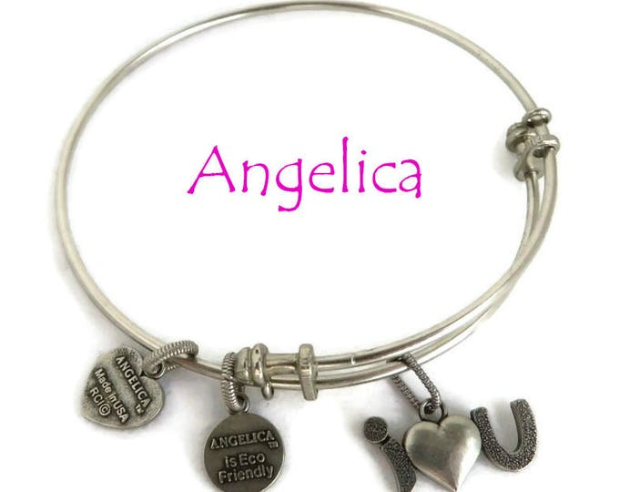 "Vintage Charm Bracelet, Angelica Silver Tone ""I Love You"" Charm Bangle, Gift for Her, FREE SHIPPING"